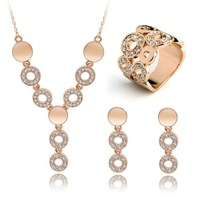 CS85 2014 Crystal Gold Plated silver Noble Eaegance Jewelry Necklace Earring ring Set Made with Austrian  Element Crystals