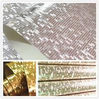 Silver gold Mosaic KTV clothing store ceiling lamp pool background pvc wallpaper glitter bathroom waterproof