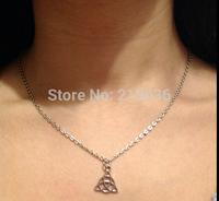 10PCS   Fashion Vintage Silver Pagan Triquetra Knot Charms Long Chain Statement Women Choker Necklace &Pendants& Jewelry N2126