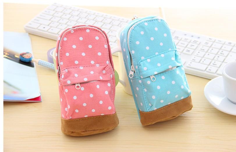 Min.order is $15 (mix order) Korea stationery high-capacity pencil case multipurpose loveliness dot storage bag(China (Mainland))