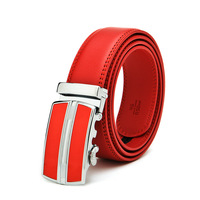 Men's business automatic buckle belt  Male red fashion casual second layer of cowhide leather belts Free Shipping