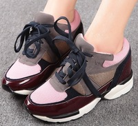 2014 genuine leather lacing women's breathable casual flat shoes sport Sneakers