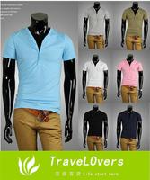 2014 Summer 100% High Quality Cotton V-neck Slim Casual T-shirt Men's Summer T-shirt TSP1256