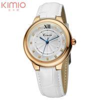 Original KIMIO Women's Hours Golden Case Leather Band Quartz Analog Wrist Watch with Rhinestone (Assorted Colors)