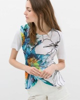 NEW 2014 Brand Design Ladies Digital Oil Painting Flower Print Short Sleeve T shirt T-shirt Shirts SML