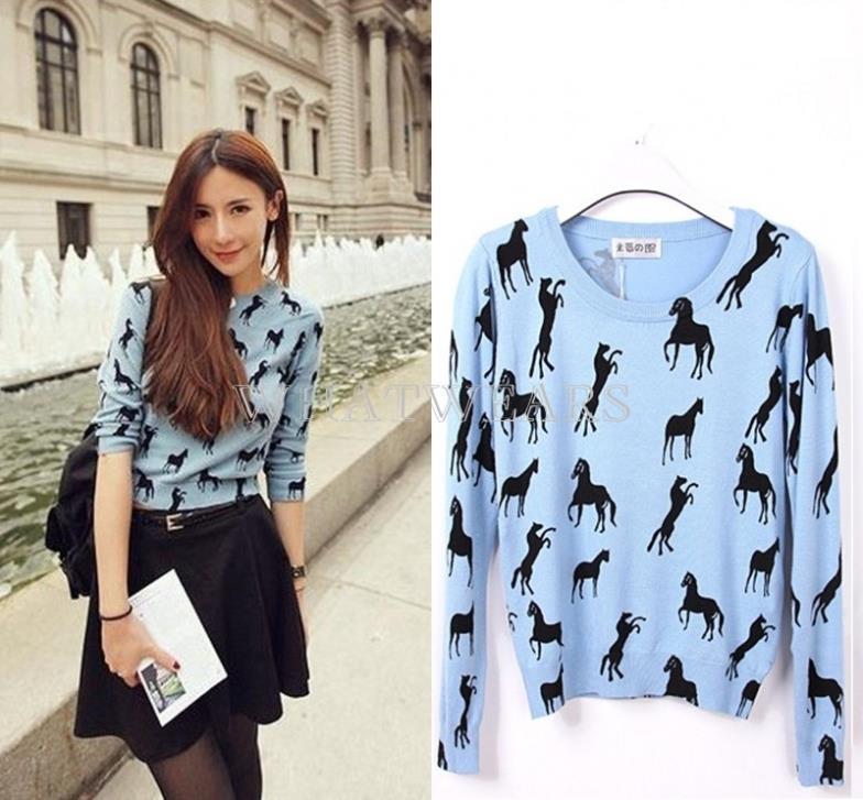 Free Shipping 2014 Sweet Women Scoop Neck Causal Long Sleeve Black Horse Print Knitting Sweater [70-7205](China (Mainland))
