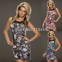 2014 Free  Shipping Top Quality Women O Neck Flower Printed Dress Sexy Summer Sheath Dress New Fashion Sleeveless Slim Dress