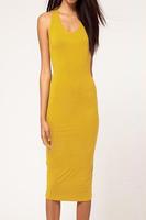 Yellow Cut out Backless O Neck Bodycon Midi Dress elegant dress dear lover plus size women clothing  Black Orange