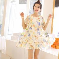 2014 new Maternity clothing fashion summer fresh one-piece dress strapless chiffon maternity dress  free shipping