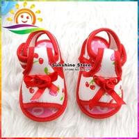 Sunshine store #2X0182 4 pair/lot(red)Fashion girls baby flower cotton sandals print fruit soft toddler prewalker princess shoes
