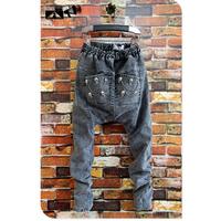 New Arrival Rivet Middle Low Level Denim Harem Jeans Drop Crotch Pants Big Personality Super Hot Baggy  Hip-hop Trousers Male
