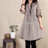 Mori Girl Loose-waisted Dress Long-sleeve Fluid One-piece Winter Dress Big Bottom Elegant dress Vestido Chaquetas Mujer