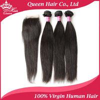 100% Brazilian Virgin Hair 4pcs Lot 1pc Lace Closure with 3pcs Hair Bundles Unprocessed Human Virgin Hair  Straight Human Hair