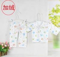 1 Set  NEW 2014 100% cotton Spring and autumn Children Children thermal underwear plus velvet suit (jacket + pants)