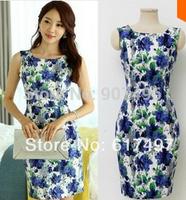 2014elegant summer o-neck OL temperament sleeveless elastic slim printed cotton sleeveless dresses free shipping best selling