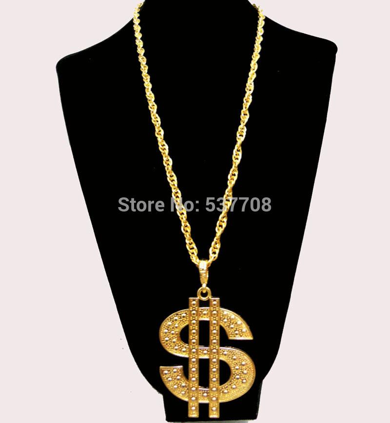 New 2014 Men Hip Hop Gothic18K Gold Long US Dollar Pendant Necklace Chain Accessories Necklaces Pendants