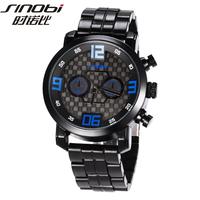New Original SINOBI Brand Vintage Wristwatch for Mens Man Black Steel Strap Japan Quartz Sport Watch