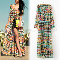 Vintage Bohemia Women Tie-Dye Printing Button Up Cardigan Maxi Stripped Long Dress S M L PQ373