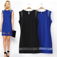 2014 new autumn style women sleeveless winter casual dress 2 colors ol slim women clothing promotion free shipping SY0482