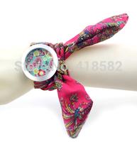 100pcs//lot New Fashion Women dress watches Ladies 7 colors Floral Fabric Strap Flower Cloth Wrist Watch --B049