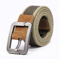Quality Wide Canvas Belts for Men Buckle Genuine Leather Metal Head Canvas Mens Belt Strap Cinto Masculino Male Ceinture