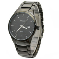 Luxury Brand CURREN Fashion Stainless Steel Band Analog Quartz Dress Men Watch With Date Free Shipping 8086