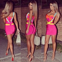 2014 Free Shipping Blackless Sexy Celebrity Women Boutique Jumpsuit Ladies BodyCon Bandage Party Cocktail Dress hl578