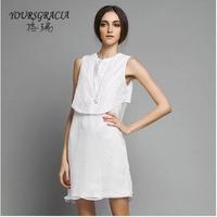 2014 summer new women's silk round neck pullover sleeveless dress White chiffon vest dress Hand embroidery free shipping