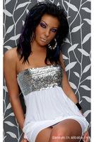 Strapless sequined skirt