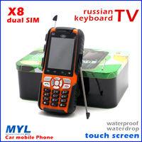 2014 hottest Luxury phone X8 Sonim Car phone dual SIM card  TV mini waterproof shockproof cheap mobile phone russian keyboard