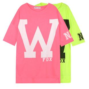 Korean Harajuku W Letter Neon Top Shirt Short Sleeve Candy Color Bright Shirt Womens Oversized Baseball Tee Hiphop Long T-shirt(China (Mainland))