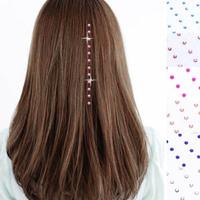 Free Shipping 48pcs Iron On Rhinestone Jewels Hair Extension Straightene Gem Crystals#9057
