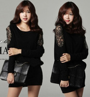 M~4XL!! New 2014 Spring Autumn Ladies Sexy Fashion Plus Size XXXXL Batwing Lace Long-sleeve Cotton Sheath Bodycon Short Dresses
