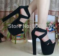 Sale 2014 summer Thick heel sandals black 18cm ultra high heels platform sexy women's shoes Eur 34-38 drop shipping