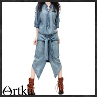 Free Shipping 2014 New Fashion Denim Dress Shirt For Women Personalized One-piece Vintage Jeans Long Mid-calf Half Sleeve Dress