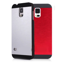 For Galaxy S5 SV I9600 Crafted Brushed Aluminum Metal + PC Hard Case For Samsung Galaxy SV I9600 S5 Plastic UV Surface Cover Bag