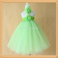 light green flower dress for baby girls lovely high quality handmade tutus for girls kids dress with matched headband