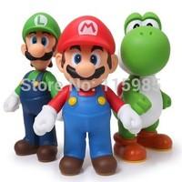 12cm 3pcs/set Super Mario Bros Luigi Mario dinosaur Action Figures Toys Dolls classic toy anime kids children gift free shipping