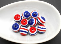 Free Shipping 4th July Royal Blue Red & White DIY100Pcs/Lot 20mm Resin Stripe Beads Gumball Style for Chunky Necklace Jewelry