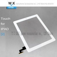 100% New For ipad 2 Touch screen digitizer glass with 3M Adhsive+Home button white  colour Free shipping