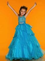 Tiered Halter Beaded Organza Flower Girl Dress