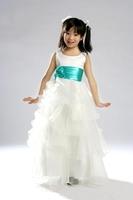 Round Neck Layered White 2014 Flower Girl Dress