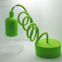 e26 e27 silicone lamp base Green color pendant light lampholder/110V 220V,cable length 1 meter,Free Shipping