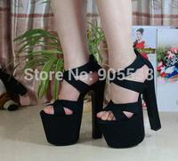Hot selling summer Thick heel sandals black 18cm ultra high heels platform sexy women's shoes Eur 34-38,drop shipping
