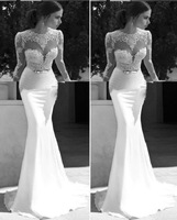 2014 Exclusive Lace Appliqued Wedding Dresses Crew Neck Sheer Long Sleeves Backless Sheath Chapel Train White Satin Bridal Gowns