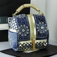 2014 spring and summer big rhinestone denim bag women's skull  tassel knitted handbag messenger bag