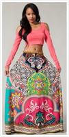 2014 New arrival Boho skirt maxi skirt Tropical printing Aztec style skirt