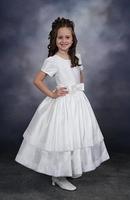 Short Sleeves Bow Beaded White Flower Girl Dresses