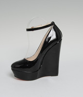 Ankle strap White black colors 16cm wedges Ultra high sexy shoes red bottom high heels waterproof Wedding shoes,Size:40-45 46