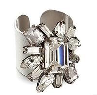 D147 vintage crystal  big gem Grind arenaceous Open rings alloy jewelry Upscale boutique